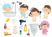 pic of bubble bath  - a bath time vector set with complete tools - JPG