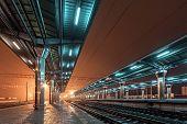 image of fog  - Railway station at night - JPG