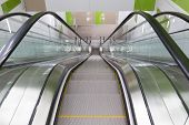 image of escalator  - Empty moving escalator stairs from above in Sofia - JPG