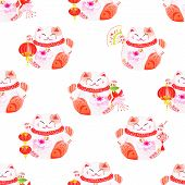 stock photo of koi fish  - Lucky cats holding chinese koi fishes and lanterns watercolor seamless vector pattern - JPG