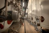 picture of silos  - Large industrial white silos in modern factory interior  - JPG