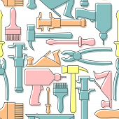 stock photo of hammer drill  - Tools seamless pattern - JPG