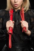 pic of sadist  - beautiful woman with chic lips in biting red whip - JPG