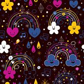 ������, ������: rainbows night cartoon pattern