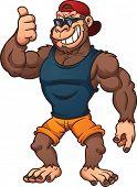 stock photo of gorilla  - Cool cartoon gorilla with thumbs up - JPG