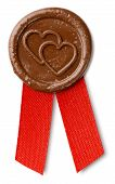 image of wax seal  - brown wax seal with hearts and ribbon isolated on white with clipping paths - JPG