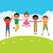 picture of jumping  - Stock Vector cartoon illustration of a group of happy jumping children of different nationalities - JPG