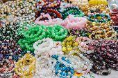 stock photo of precious stones  - Jewelry made of precious stones and colored stones. ** Note: Shallow depth of field - JPG