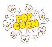 image of popcorn  - Popcorn type design with cute smiling popcorn characters - JPG