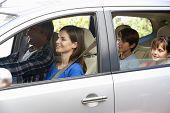 stock photo of car carrier  - Family Setting Off On Car Journey - JPG