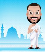 picture of muslim man  - 3D Realistic Muslim Man Character Praying Wearing Ihram Clothes Performong Hajj or Umrah with Madinah Silhouette Background - JPG