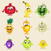 pic of muskmelon  - Set of nine colorful fruits character in laughing way on beige background - JPG