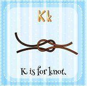 image of letter k  - Flashcard letter K is for knot - JPG