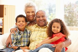 image of grandparent child  - African American grandparents and grandchildren - JPG