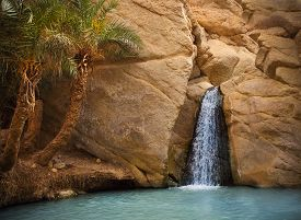 stock photo of oasis  - View of mountain oasis Chebika with waterfall Sahara desert Tunisia Africa - JPG