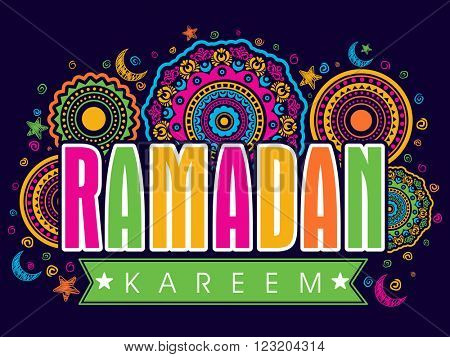 Elegant colourful greeting card with stylish text ramadan kareem on elegant colourful greeting card with stylish text ramadan kareem on beautiful traditional floral des poster m4hsunfo