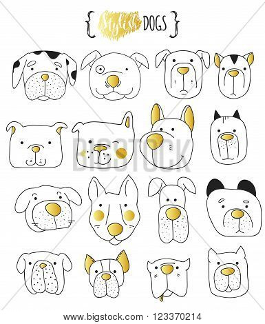 poster of Set of 16 cute dogs doodle . Sketch dog . Dog handmade . Dogs Print  for T-shirts. Print for clothes . Children doodle animals . Stylish dog's muzzle . Isolated dog. PET