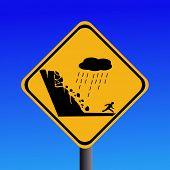 warning risk of landslide during heavy rain sign