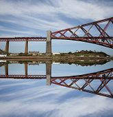 Forth Rail Bridge reflected Scotland