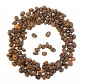 stock photo of fanny  - whole fanny coffee beans on white background - JPG