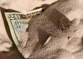Money Buried In Sand On Beach
