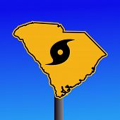 South Carolina warning sign with hurricane symbol on blue illustration