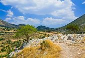Pathway to mountains in Mycenae, Greece