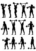 Women and barbell