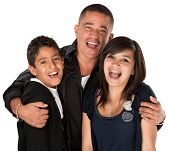picture of threesome  - Native American father holding his children and laughing on white background - JPG