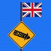 Recession warning sign and British flag illustration