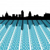 London skyline reflected with text illustration
