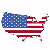 map of USA and American flag illustration