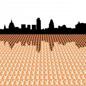 London skyline with pound symbols illustration