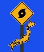 Japan warning sign with typhoon symbol on blue illustration