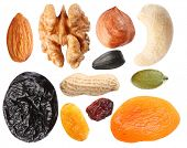 Close seeds and dried fruits on white background