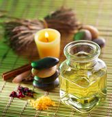stock photo of massage oil  - Still life with massage oil in the spa salon - JPG