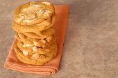 A Stack Of Delicious White Chocolate With Macadamia Nut Cookies