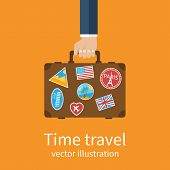 Travel Suitcase In Hand. Travel Suitcase With Stickers poster