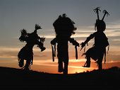 image of american indian  - native american indian spirit dancers at sunset - JPG
