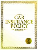 picture of insurance-policy  - golden car insurance policy document with seal - JPG