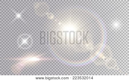poster of Set of shining light effects. Several white small stars, sun with lens flare and rainbow halo, cinematic spaceship glare.