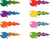 8 Cartoon Swimming Tadpoles (Vector)