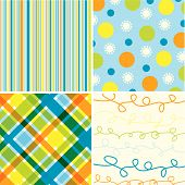 Blue Beach Stripes 4 Pattern Combo (Vector)
