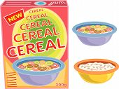 Breakfast Cereal Box, Bowl And Porridge (Vector) - Cartoon Illustration