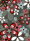 Retro Red And Brown Flower Power (Vector) - Illustrated Background Pattern
