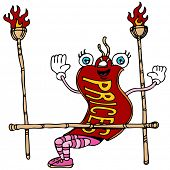 An image of a cartoon price tag limbo dancing.