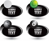 Tennis ball, golf ball, bowling ball, and eight ball on silver swoosh banners