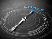 Goals concept - Compass needle pointing Goals word. 3d rendering poster