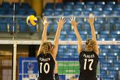 DEBRECEN, HUNGARY - JULY 9: Anita Filipovics (in black 17) in action a CEV European League woman's v