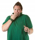 Woman Showing Shock Or Covering A Burp poster